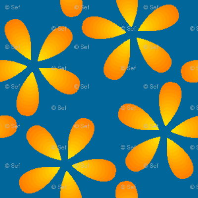 00777672 : S43 floral : gold petals in the sky