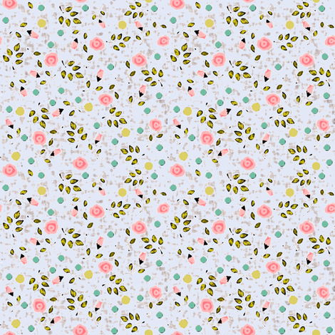 Ditsy spring flower in blue fabric by lucybaribeau on Spoonflower - custom fabric