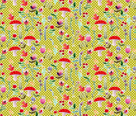 set_oh_grand_méchant_loup_vertc fabric by nadja_petremand on Spoonflower - custom fabric