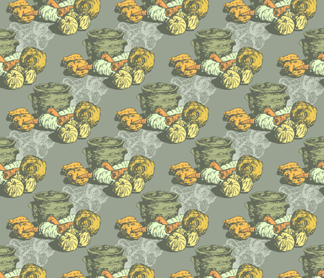 A Winter Casserole (large repeat) - in grey fabric by woodledoo on Spoonflower - custom fabric