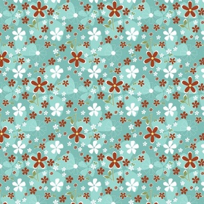 Ditsy Daisy in Aqua and Clay