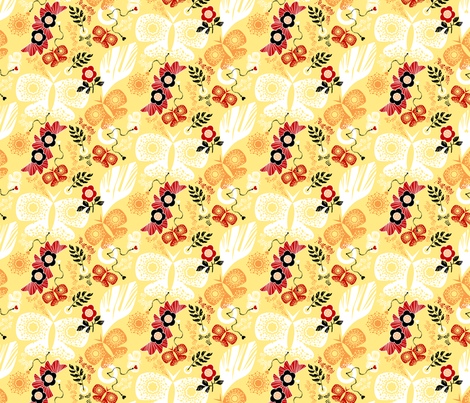 Butterflies and blossoms - Orange fabric by niceandfancy on Spoonflower - custom fabric