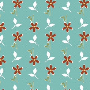 Tossed Daisies in Aqua and Clay