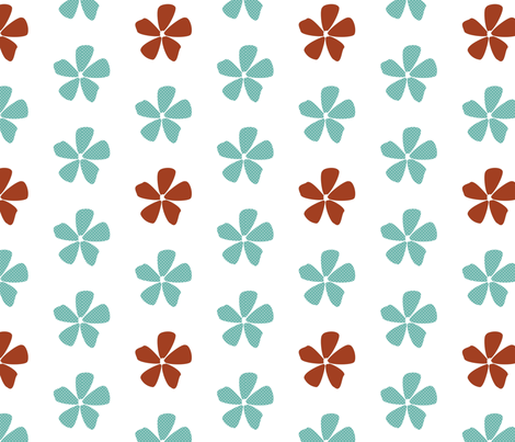 Dotted Daisies in Aqua and Clay fabric by christiem on Spoonflower - custom fabric
