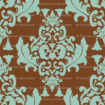 Delicious Damask- Spoonflower Green on Brown Green