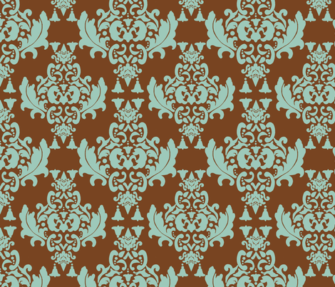 Delicious Damask- Spoonflower Green on Brown Green fabric by mayabella on Spoonflower - custom fabric