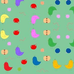 Birdies & Apples in Green