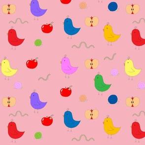 Birdies & Apples in Pink