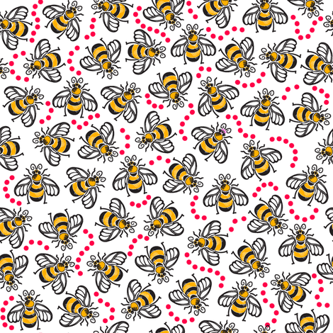 A Beezy Ditsy - Red fabric by dianne_annelli on Spoonflower - custom fabric