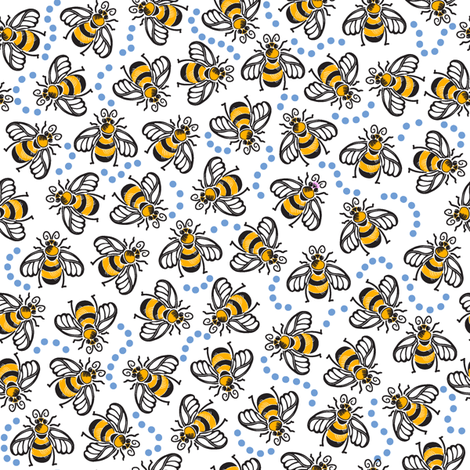 A Beezy Ditsy - Blue fabric by dianne_annelli on Spoonflower - custom fabric