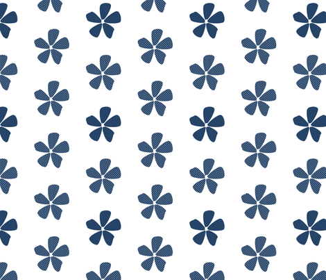 Daisy Dots Navy fabric by christiem on Spoonflower - custom fabric