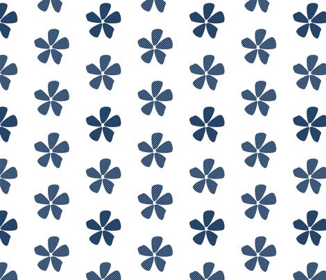 Daisy Dots Navy fabric by christiem on Spoonflower - custom fabric