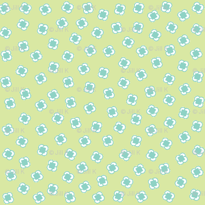 Ditsy Square Circles Yellow/Lt Blue/Green-ch