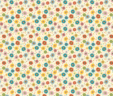 Flower Shower Cream (Ditsy) fabric by gracedesign on Spoonflower - custom fabric