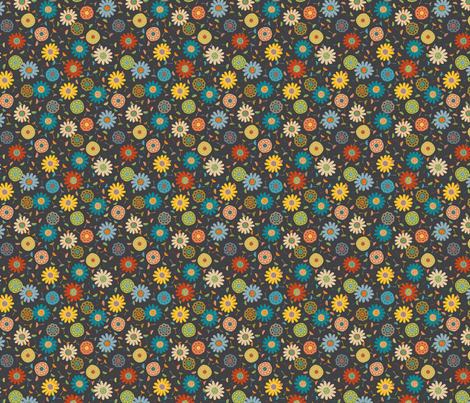 Flower Shower Charcoal (Ditsy) fabric by gracedesign on Spoonflower - custom fabric