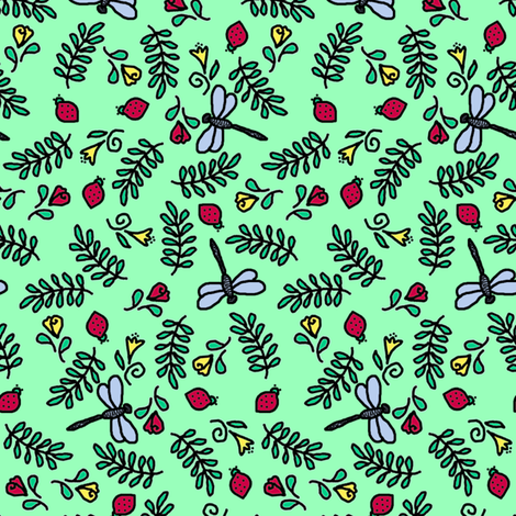 Dragonflies and Lady Bugs fabric by victorialasher on Spoonflower - custom fabric