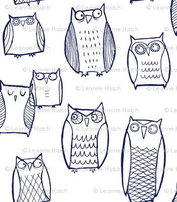 """Little"" Night Owl (navy on white)"