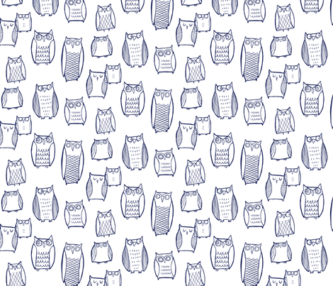 """""""Little"""" Night Owl (navy on white) fabric by leanne on Spoonflower - custom fabric"""