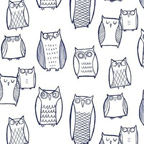 """Little"" Night Owl (navy on white)"