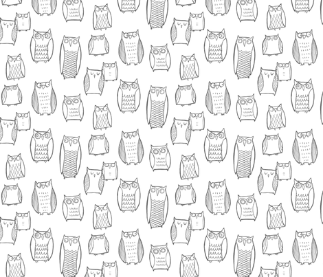"""Little"" Night Owl White/Gray fabric by leanne on Spoonflower - custom fabric"