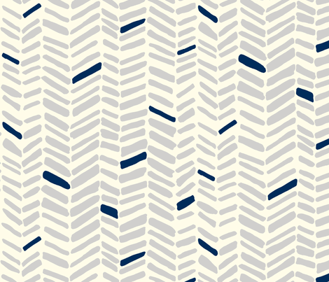 Fossils Gray/Navy fabric by leanne on Spoonflower - custom fabric