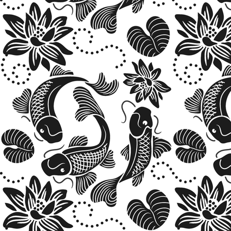 Koi Fish Pond - BW fabric by dianne_annelli on Spoonflower - custom fabric
