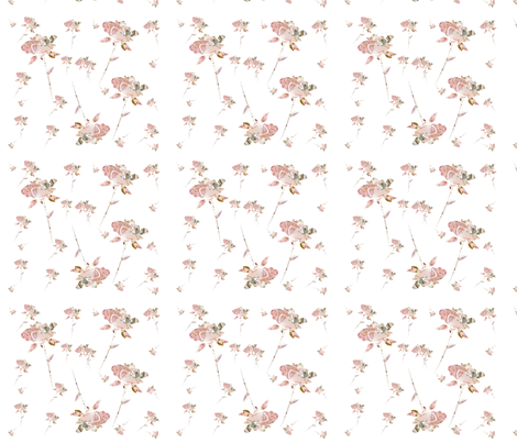 Shabby Chic Roses in a Pink Garden fabric by karenharveycox on Spoonflower - custom fabric