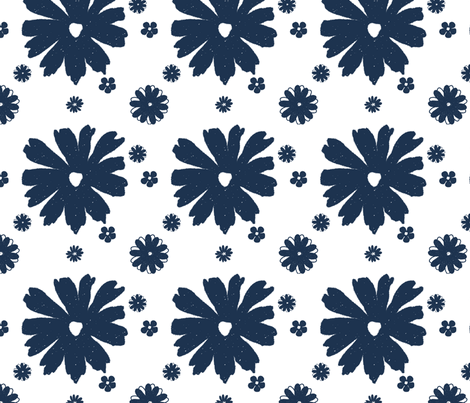Flowers Indigo fabric by christiem on Spoonflower - custom fabric
