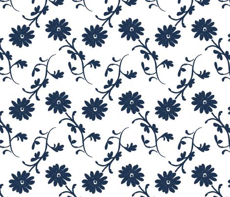 Tossed Flowers Indigo fabric by christiem on Spoonflower - custom fabric