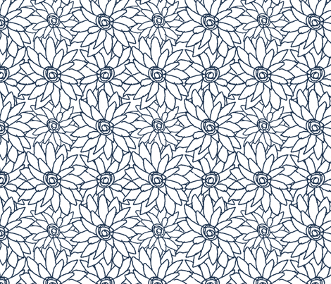 Dahlia Indigo fabric by christiem on Spoonflower - custom fabric