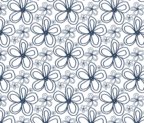 Blooms Indigo fabric by christiem on Spoonflower - custom fabric