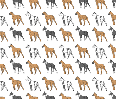Colorful Great Danes standing tall fabric by rusticcorgi on Spoonflower - custom fabric