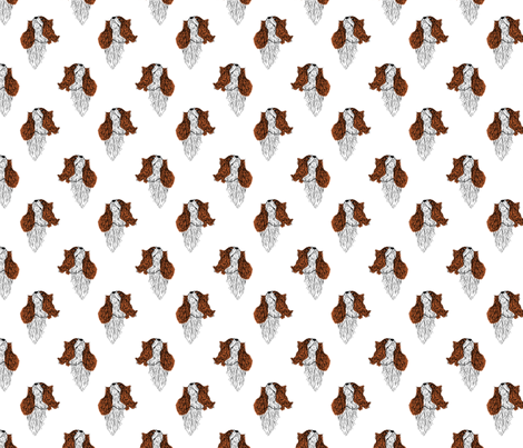 Cavalier King Charles Spaniel lightly colored sketch fabric by rusticcorgi on Spoonflower - custom fabric