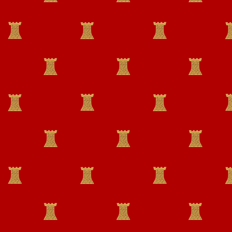 Golden Towers on Red fabric by veritybrown on Spoonflower - custom fabric