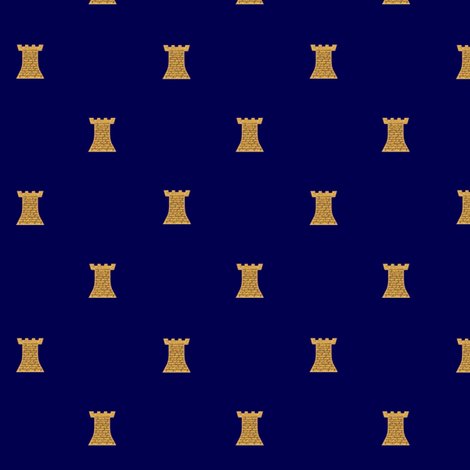 Golden Towers on Dark Blue fabric by veritybrown on Spoonflower - custom fabric