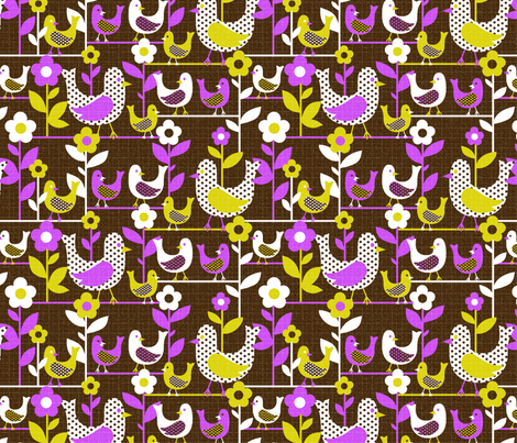 tweet tweety -  brown and 25% smaller fabric by collectivesurfacellc on Spoonflower - custom fabric