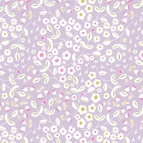 Lavendar Meadow Ditsy fabric by pattysloniger on Spoonflower - custom fabric