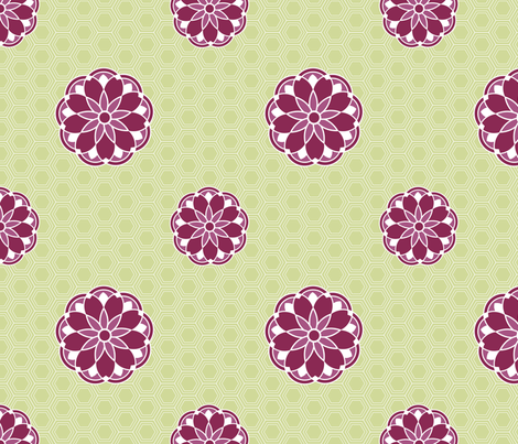 Antique Tile Lime fabric by freshlypieced on Spoonflower - custom fabric