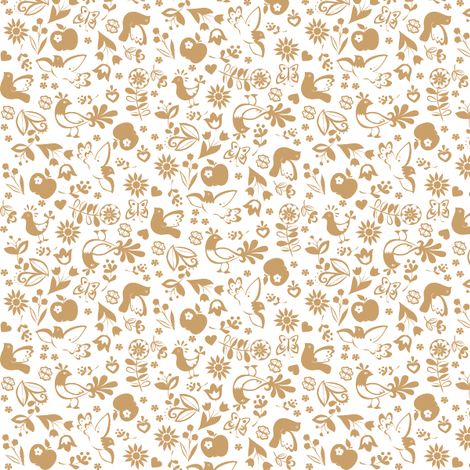 folklorique_brown fabric by johanna_design on Spoonflower - custom fabric