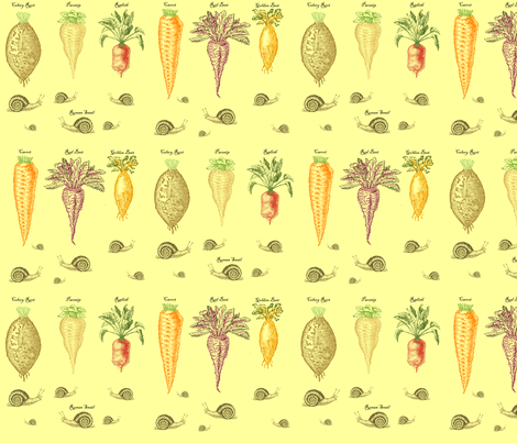 Root vegetables with snails  fabric by gracecm on Spoonflower - custom fabric