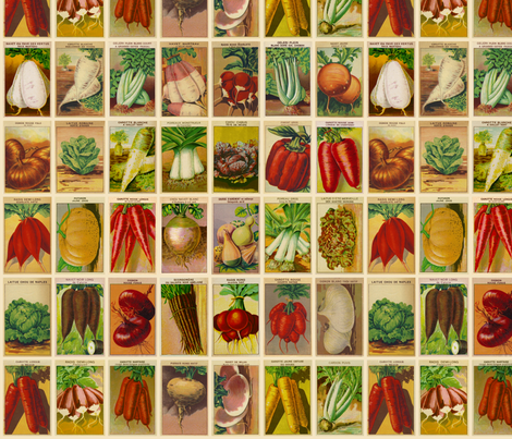 Vintage French Seed Packets fabric by mjdesigns on Spoonflower - custom fabric
