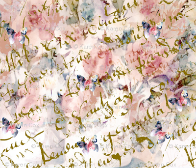 French Script, butterfiles and roses