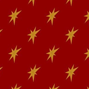 Golden Stars on Dark Red