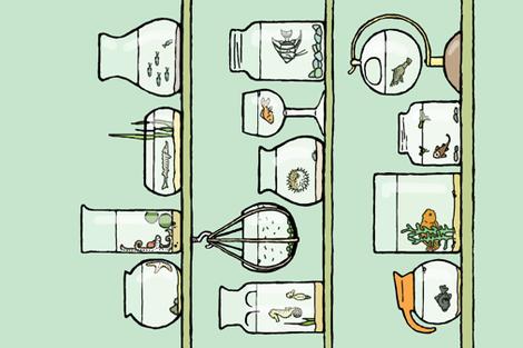 isolated elements tea towel fabric by doodleandhoob on Spoonflower - custom fabric