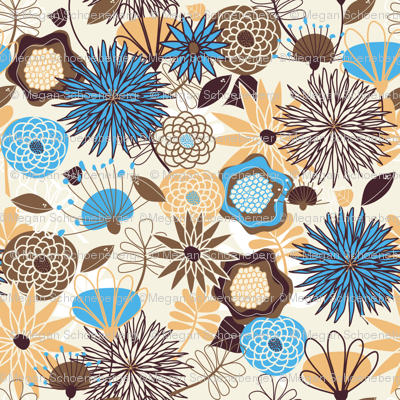 Big, Beautiful Blue, Gold, and Brown Flowers