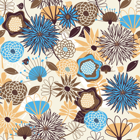 Big, Beautiful Blue, Gold, and Brown Flowers fabric by meg56003 on Spoonflower - custom fabric