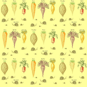 Root Vegtables Snail pattern on off white background