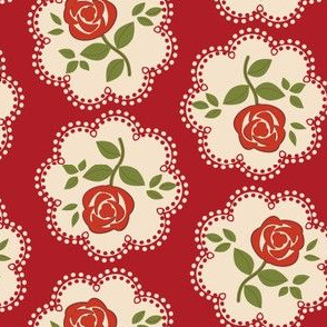 Rose Doily Stamp Red 2-in