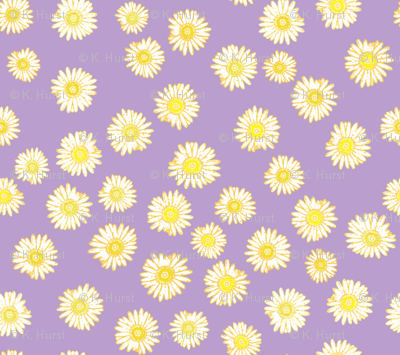 Daisies -- unchained (in yellow on violet)