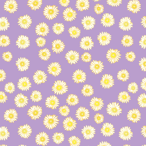 Daisies -- unchained (in yellow on violet) fabric by bargello_stripes on Spoonflower - custom fabric
